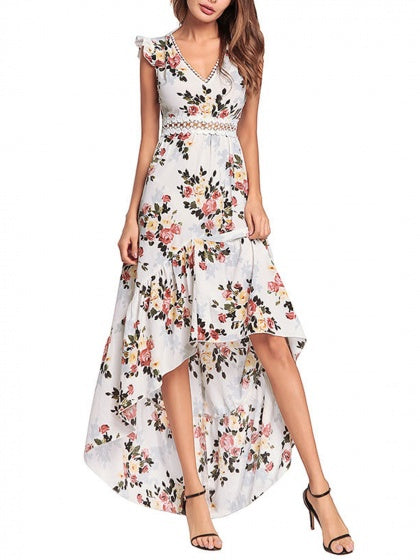 White V-neck Floral Dipped Hem Dress