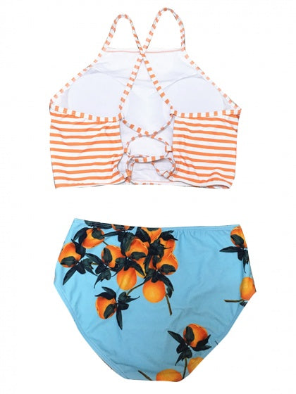 Orange Stripe Orange Print Bikini Top And High Waist Bottom