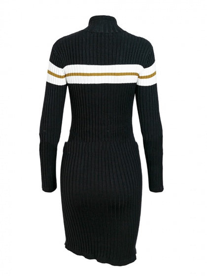 Black Bodycon Dress Ribbed High Neck Contrast Panel Long Sleeve