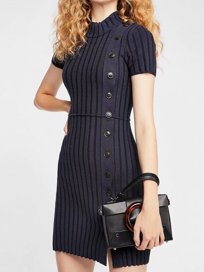 Dark Women Mini Dress Blue Ribbed Button Placket Front