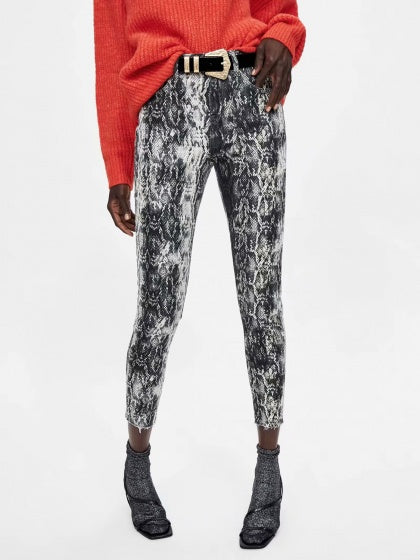 Gray Snakeskin Print High Waist Women Jeans