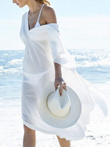 White V-neck Thigh Split Side Maxi Dress