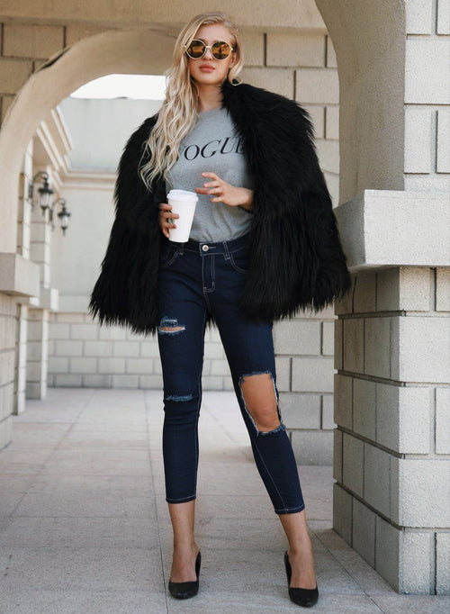 Black Long Sleeve Women Faux Fur Coat