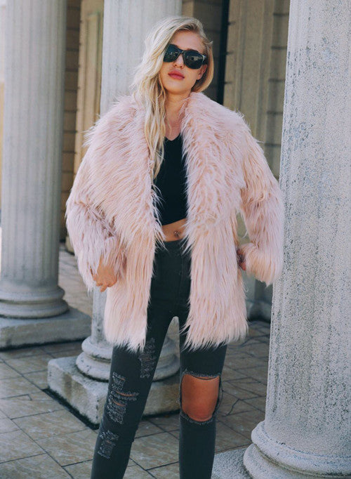 Light Pink Long Sleeve Women Faux Fur Coat
