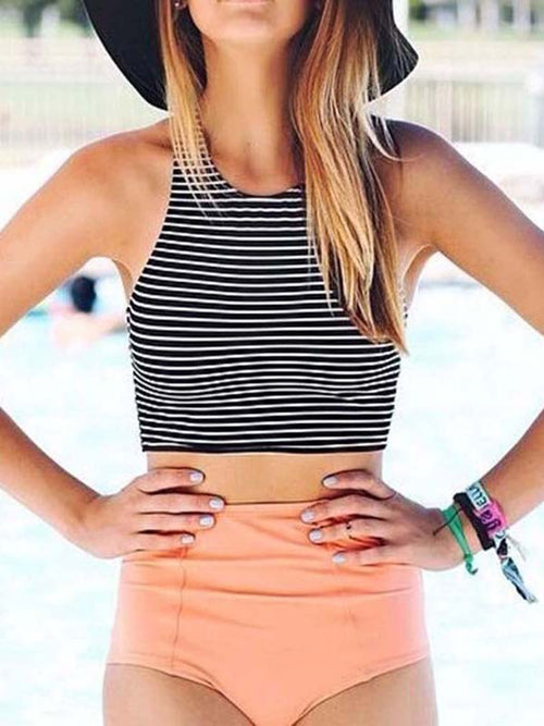 Black Stripe Top And High Waist Bottom