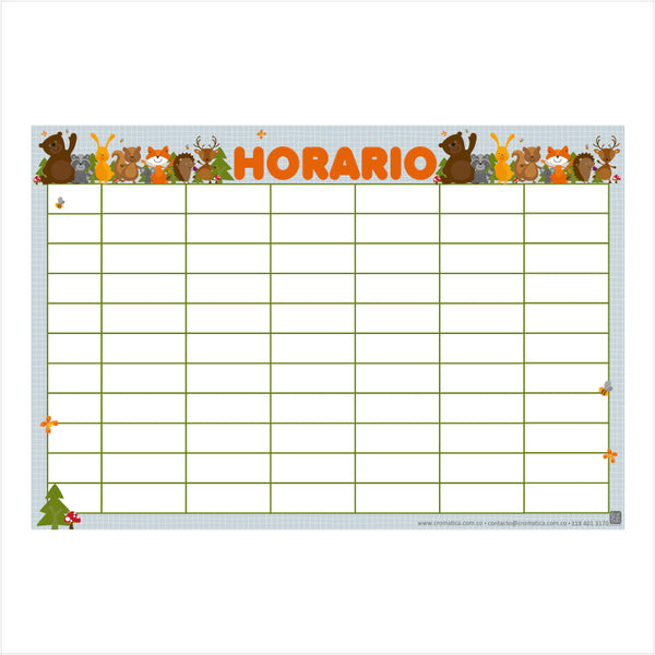 Horario Bosque - Casillas en blanco