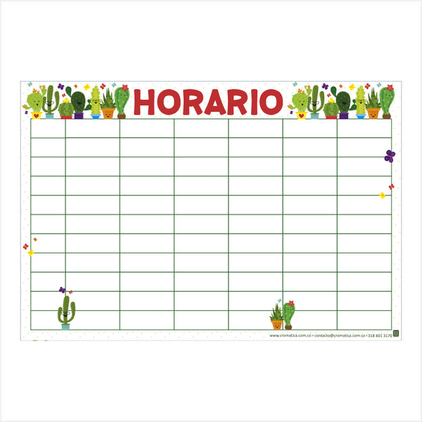 Horario Cactus - Casillas en blanco