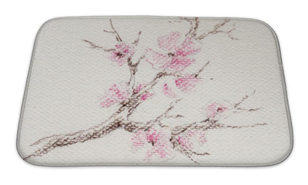 Bath Mat, Watercolor Branch Of Cherry Blossoms