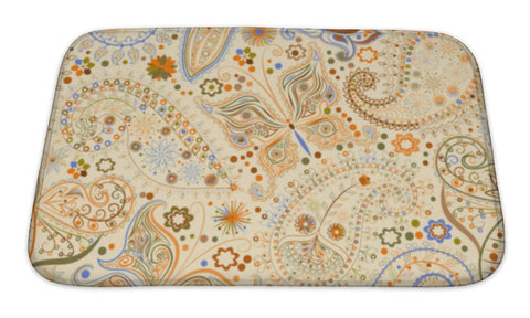 Bath Mat, Vintage Floral Motif With Butterflies