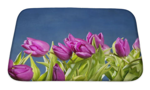 Bath Mat, Tulips Pink Flowers On Blue Studio