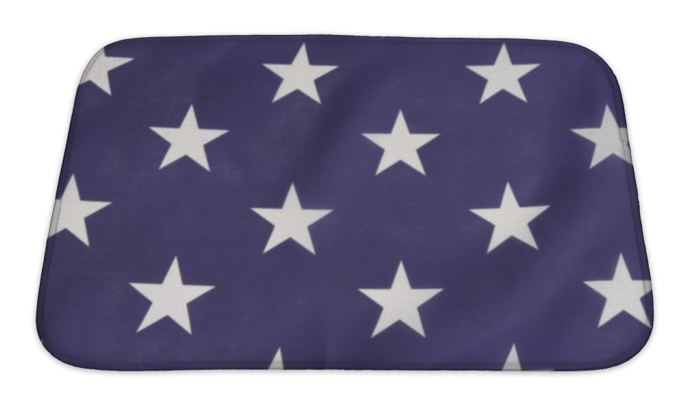 Bath Mat, American Flag Backlit Blue With White Stars