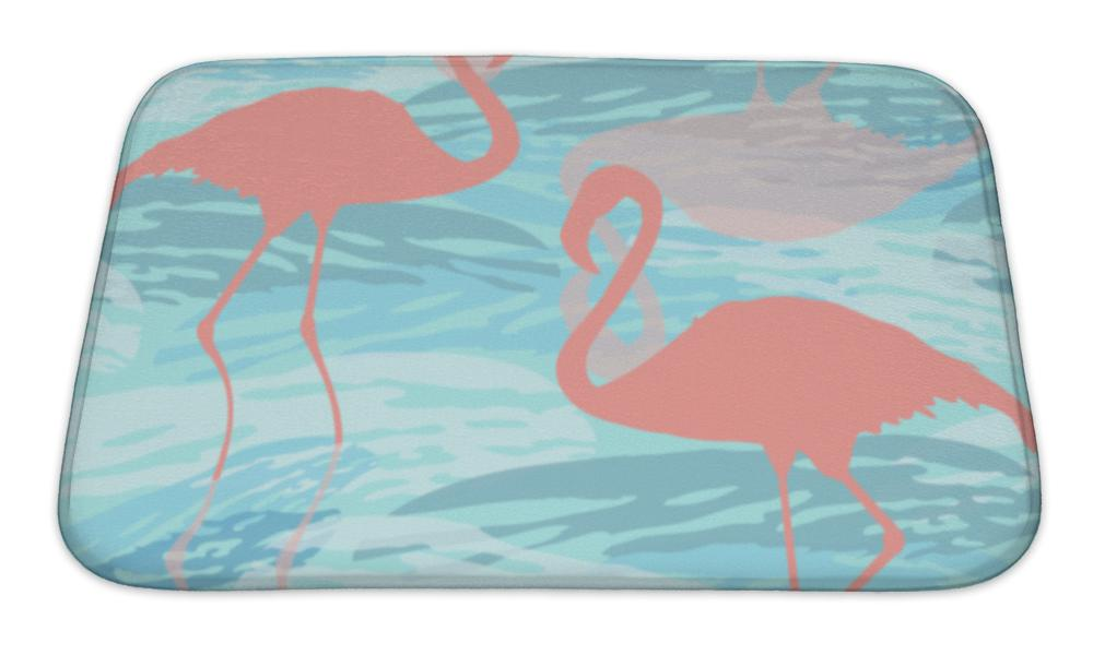 Bath Mat, Pattern With Pink Flamingo Silhouette