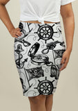 Pencil Skirt with Pirate Design