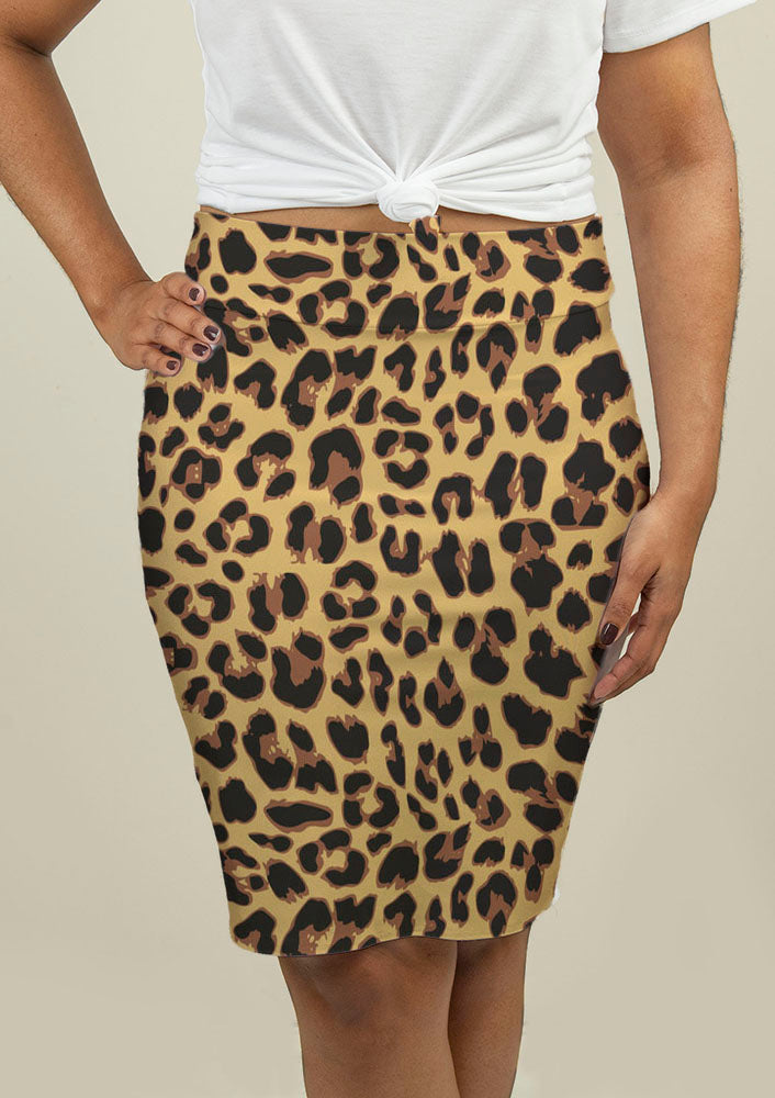 Pencil Skirt with Leopard Print