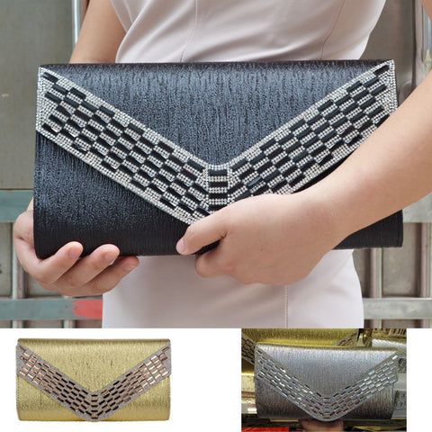 Silver Women big envelope bags Black Golden PU Evening Bag Party Purse pochette Leather shoulder bags Prom Women Handbag X63