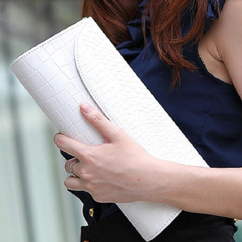 Black White Women Evening Party Fashion Clutch Purse Alligator PU Leather Bag Handbag Wallet with Shoulder Strap