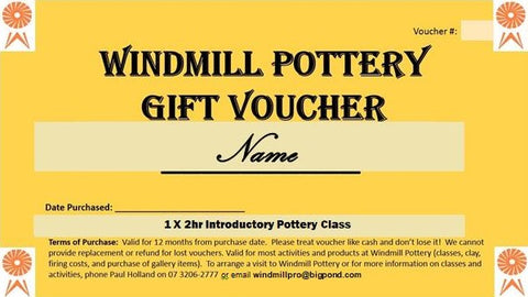 Gift Voucher for an Introductory Pottery Class