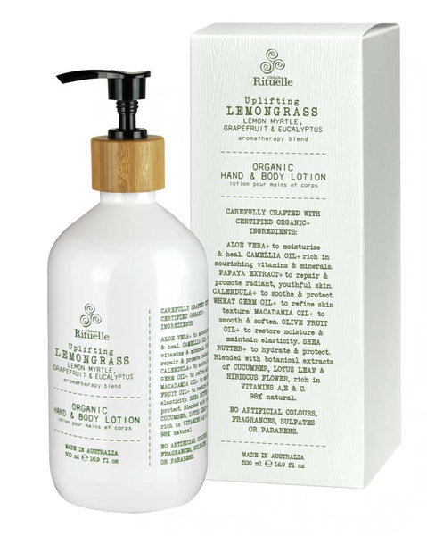 Urban Rituelle / Flourish Organics / Hand and Body Lotion 500ml / Lemongrass, Lemon Myrtle, Grapefruit and Eucalyptus / FLhbll