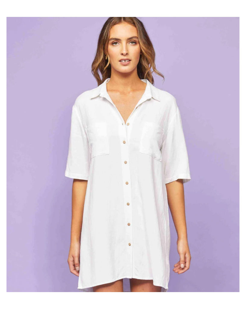 Saltwater Shirt Dress / White / 6