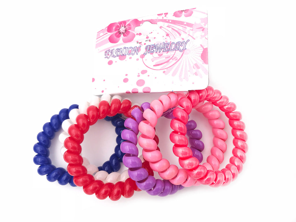 6pcs Girl Gel Stretch Plastic Spiral Phone Cord Hair Ties Band Coil High  Quality a15365ef464