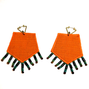 Pentagon Beaded Tassels Patch Earrings