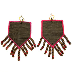 Shield Beaded Tassels Patch Earrings