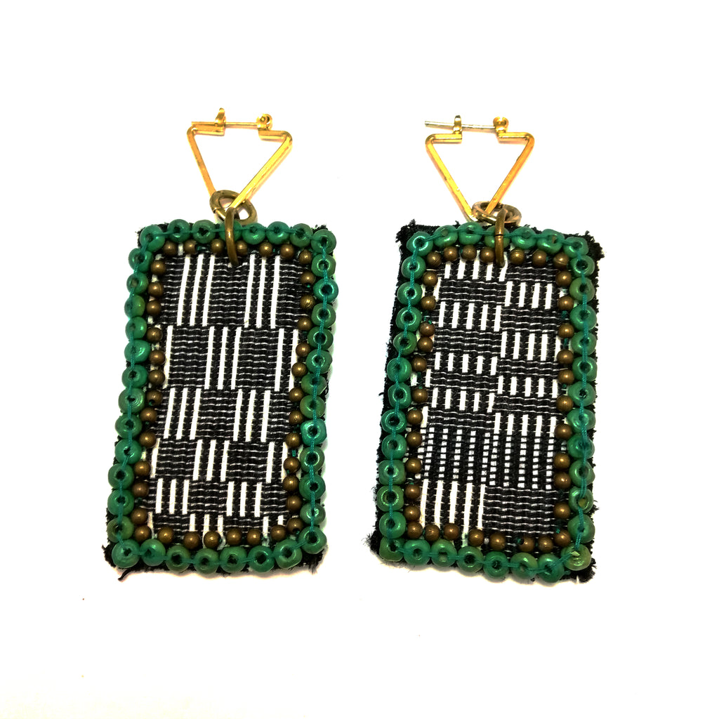 Boxy Beaded Patch Earrings