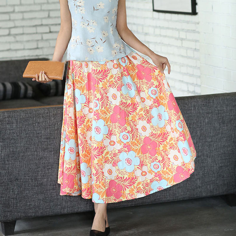 Flowers Printed Natural Material Flax Slim Tradition Long Skirt - KINGEOUS