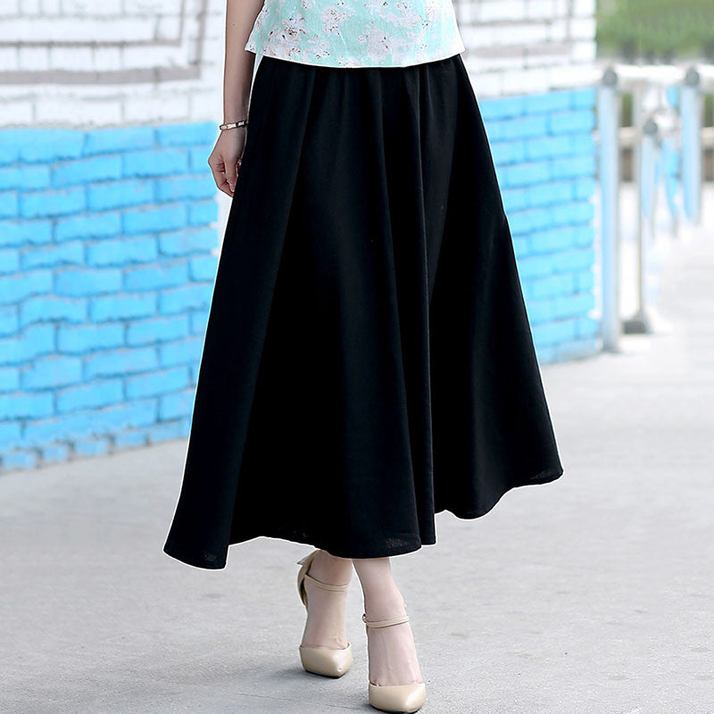 Solid Color Natural Material Flax Slim Tradition Black Long Skirt - KINGEOUS