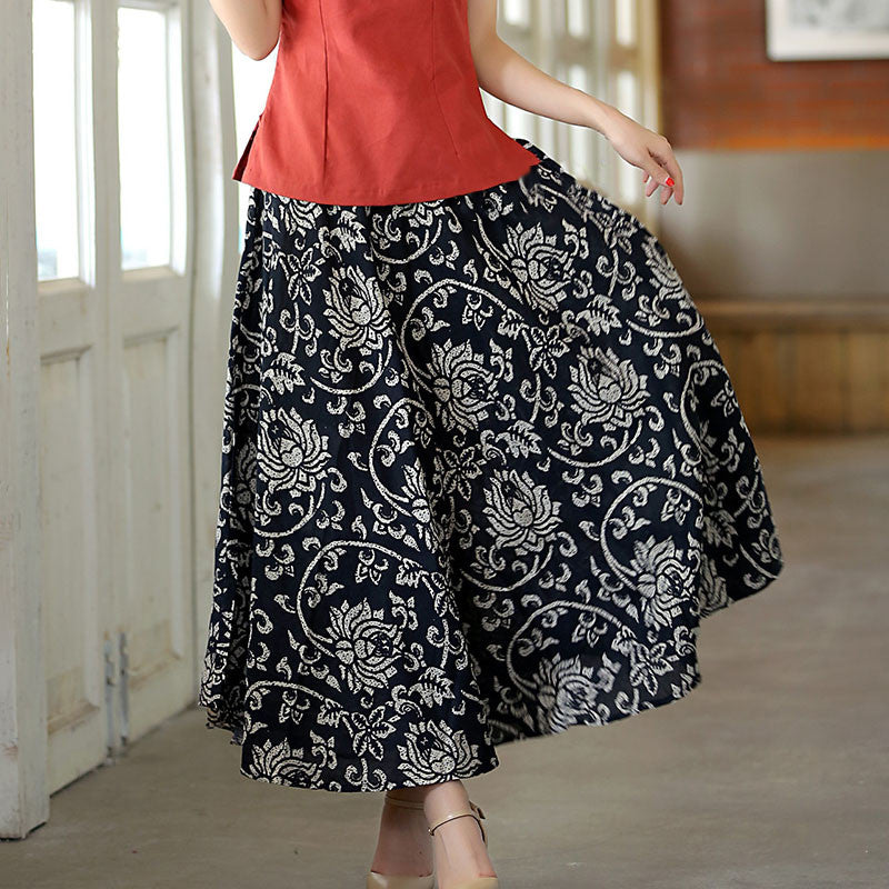 Exquisite Pattern Natural Material Flax Tradition Black Skirt - KINGEOUS