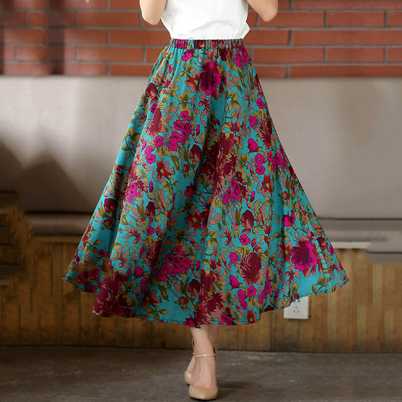 Flowers Printed Natural Material Flax Green Slim Tradition Skirt - KINGEOUS