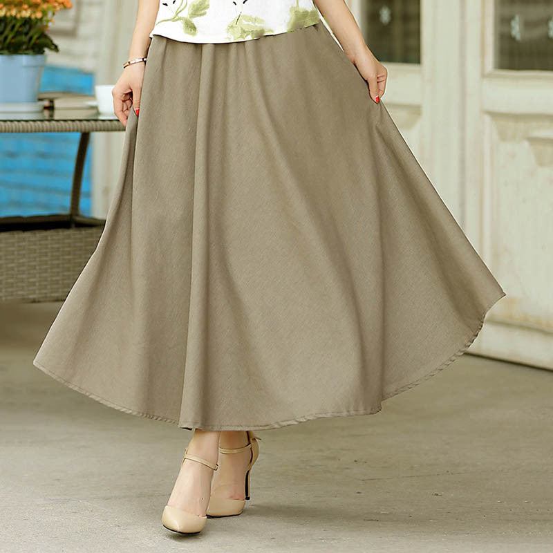 Solid Color Natural Material Flax Dark Khaki Slim Tradition Skirt - KINGEOUS