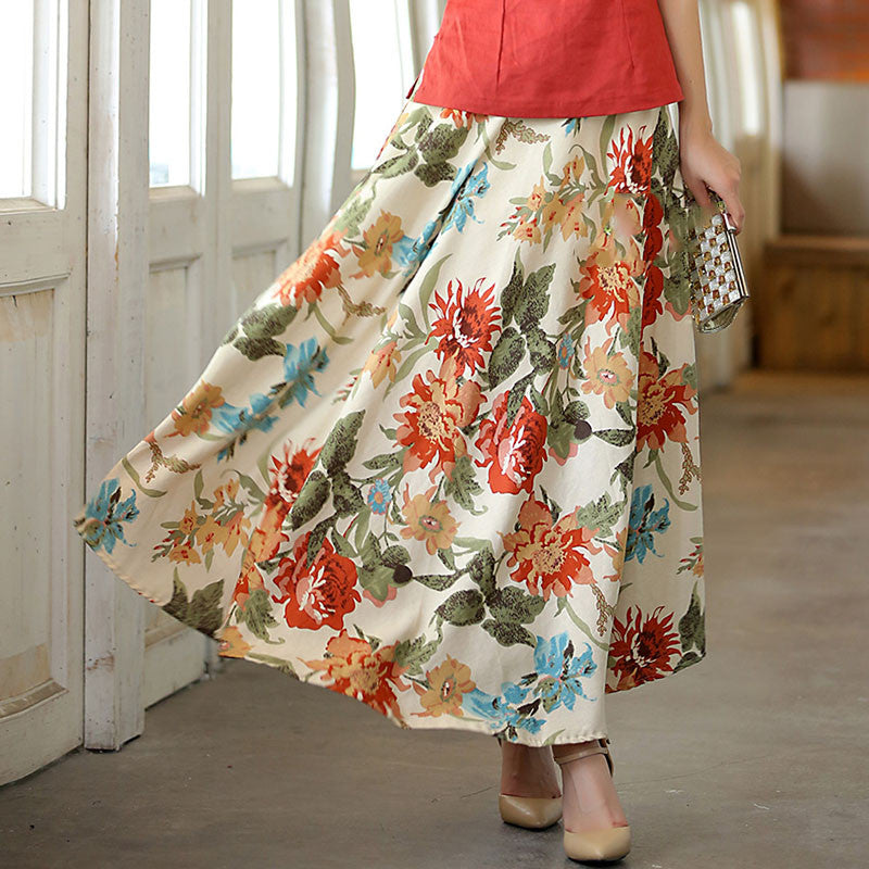 Flowers Printed Natural Material Flax Tradition Women's Skirt - KINGEOUS