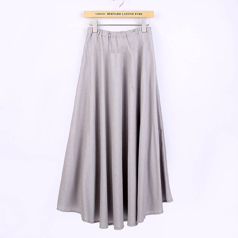 Solid Color Natural Material Flax Tradition Silver Skirt - KINGEOUS