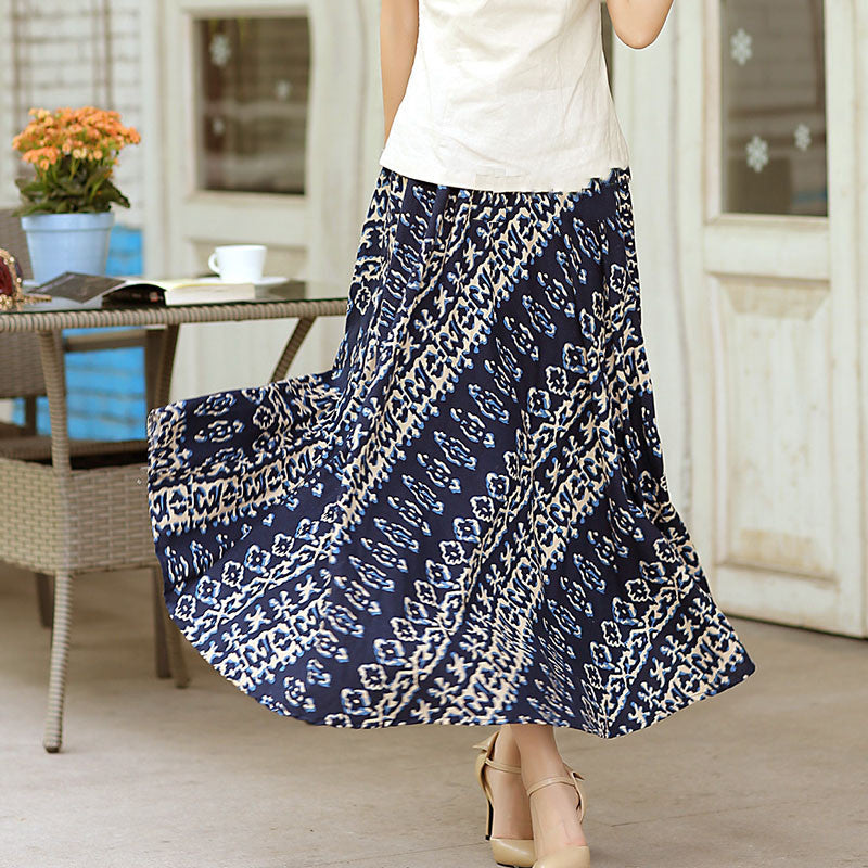 Charming Split Joint Printed Natural Material Flax Tradition Skirt - KINGEOUS