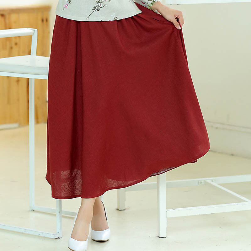 Solid Color Natural Material Flax Tradition Long Skirt(3 Colors) - KINGEOUS