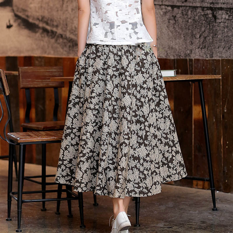 Retro Cirrus Ink Printed Flax Natural Material Tradition Skirt