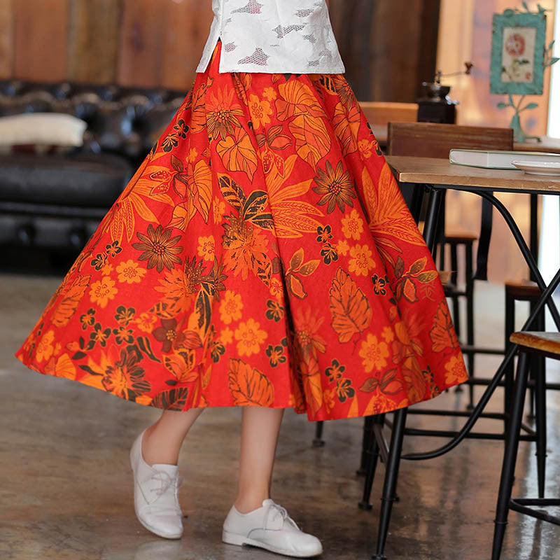 Chrysanthemum Printed Split Natural Material Flax Long Skirt - KINGEOUS