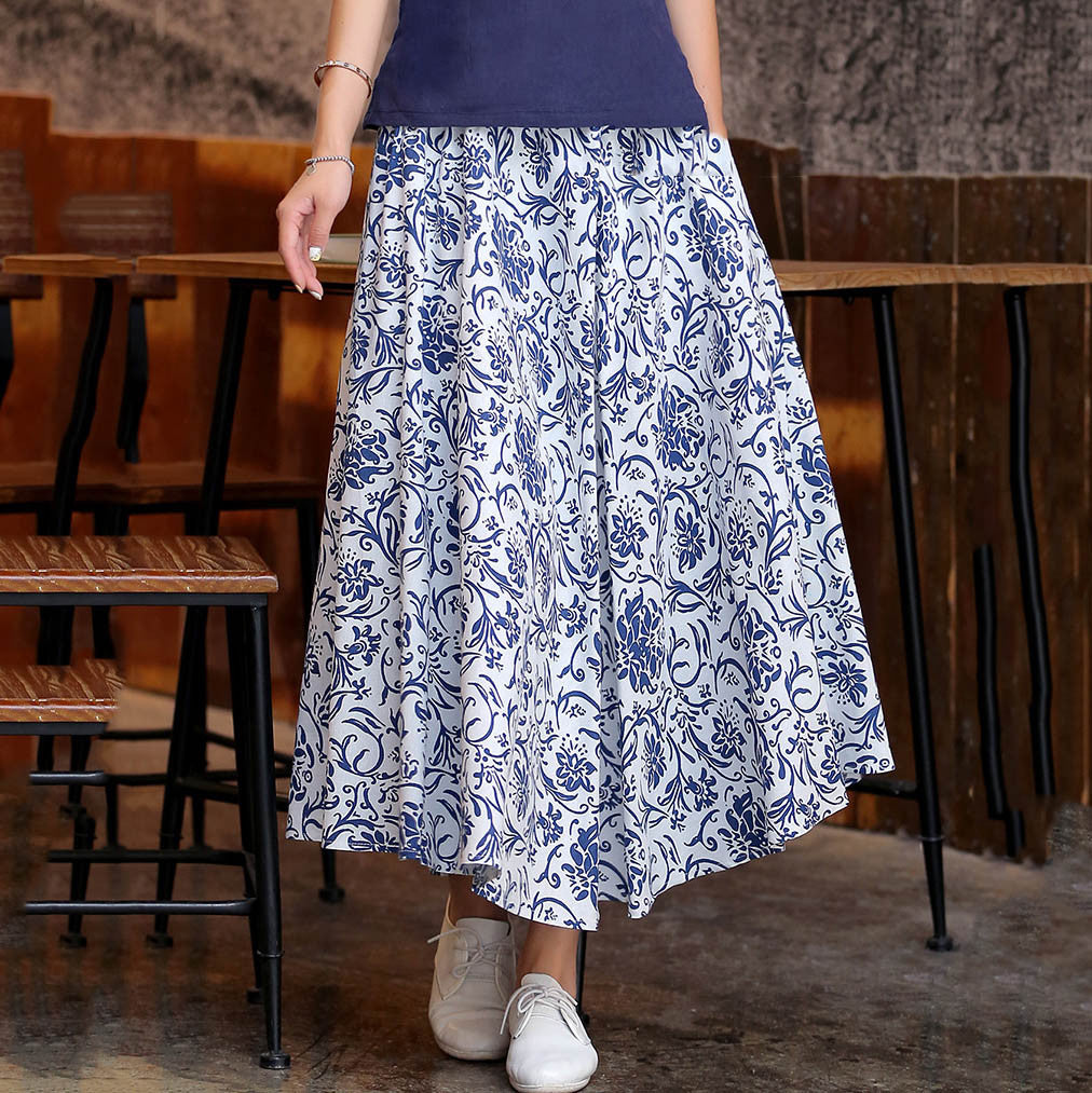 Beautiful Pattern Natural Material Flax Tradition Long Skirt(2 Colors) - KINGEOUS