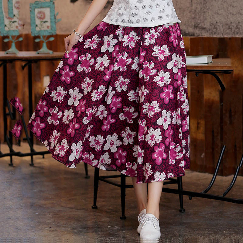 Flowers Printed Natural Material Flax Tradition Red Long Skirt - KINGEOUS