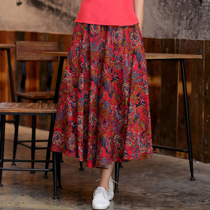 Red Flowers Pattern Printed Flax Natural Material Skirt