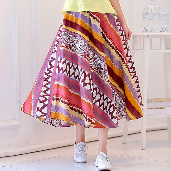 Charming Rainbow Printed Flax Tradition Long Skirt - KINGEOUS