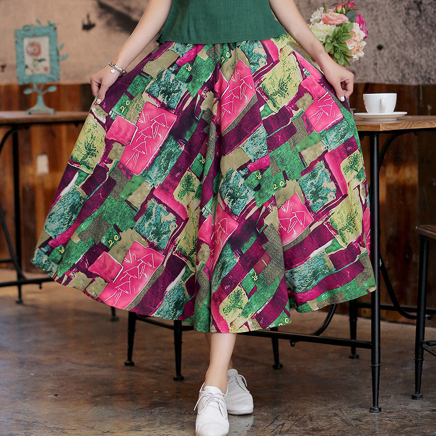 Brilliant Pattern Printed Flax Natural Material Tradition Skirt - KINGEOUS
