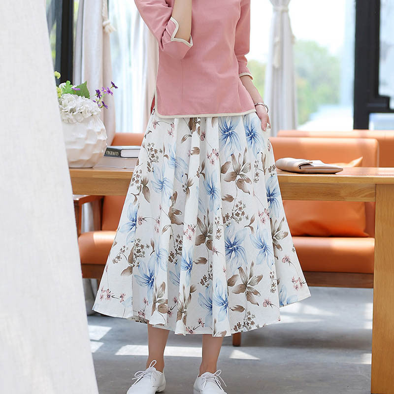 Tuberos Printed Natural Material Flax Tradition Skirt