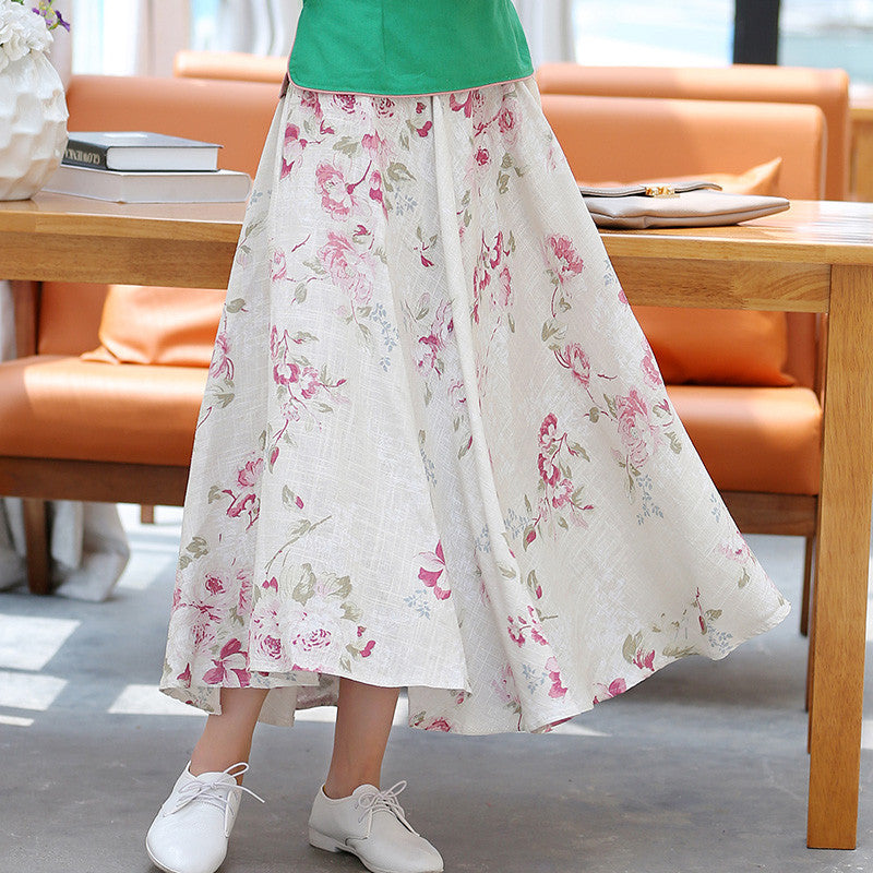 Stylish Florals Printed Flax Tradition Long Skirt