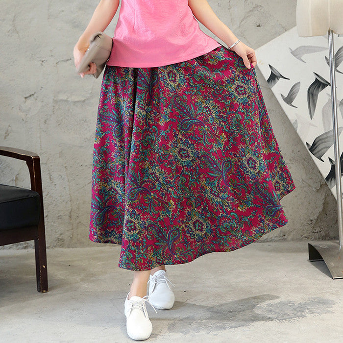 Exquisite Pattern Printed Tradition Flax Skirt(3 Colors) - KINGEOUS