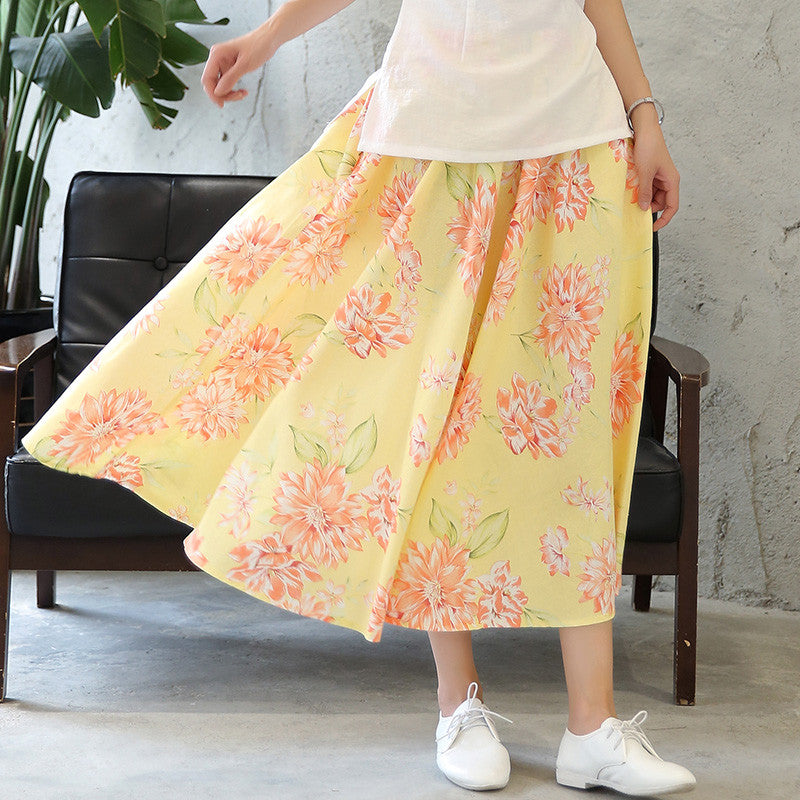 Flowers Printed Flax Tradition Natural Material Yellow Long Skirt - KINGEOUS