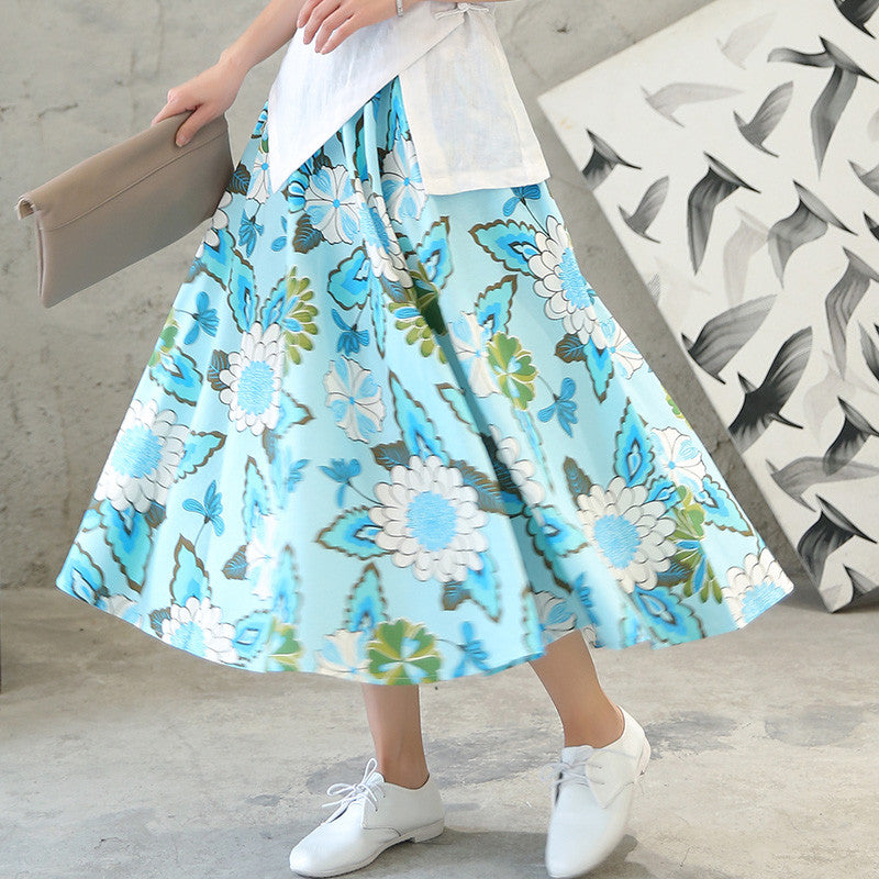 Lovely Flowers Printed Flax Tradition Natural Material Skirt