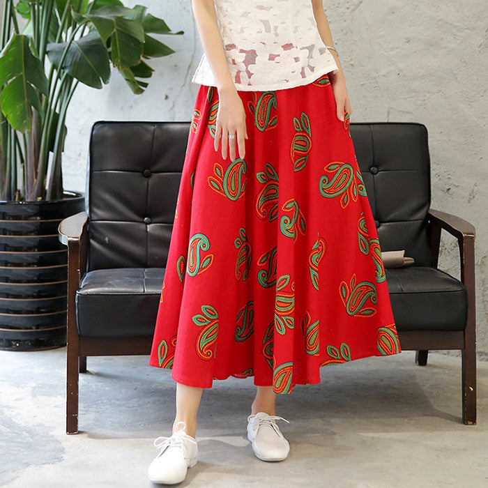 Lovely Pattern Printed Tradition Flax Red Skirt for Women