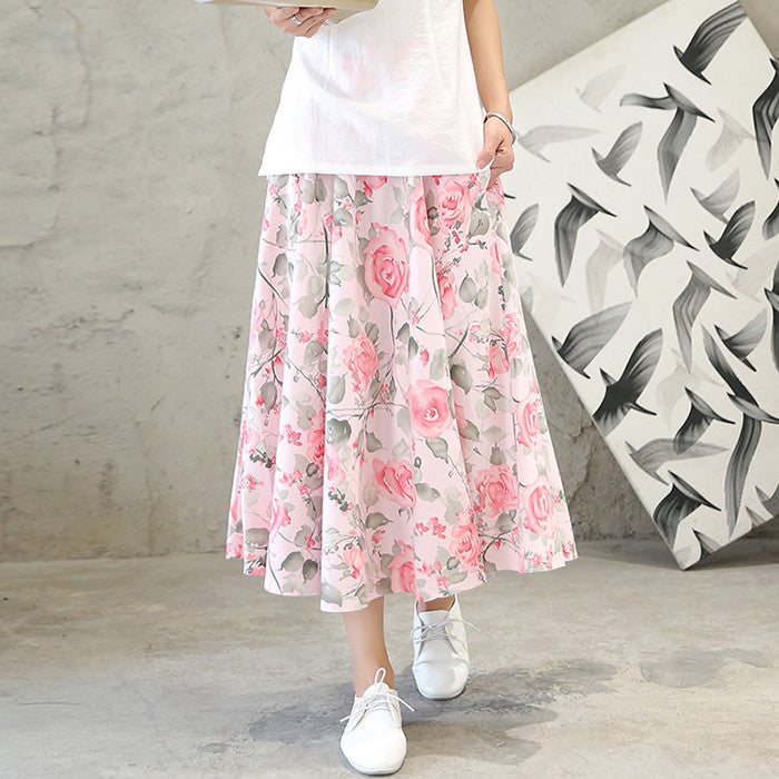 Pink Flowers Printed Flax Tradition Natural Material Skirt - KINGEOUS
